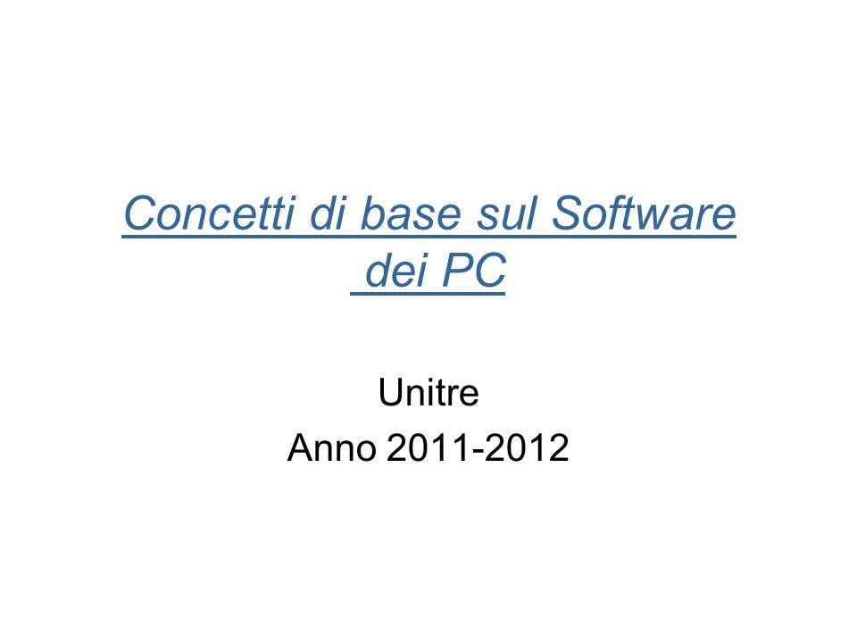 Concetti di base sul Software dei PC Unitre Anno 2011-2012