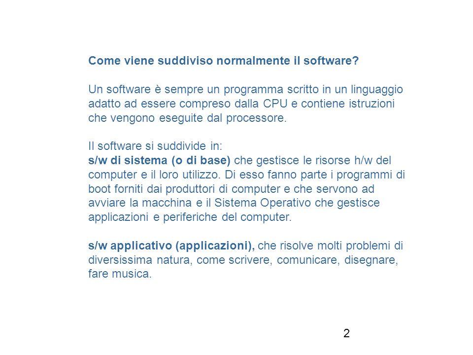 2 Come viene suddiviso normalmente il software.