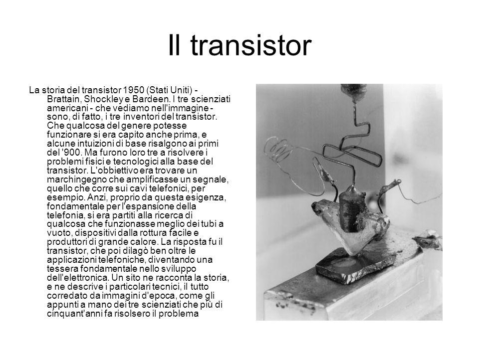 Il transistor La storia del transistor 1950 (Stati Uniti) - Brattain, Shockley e Bardeen. I tre scienziati americani - che vediamo nell'immagine - son
