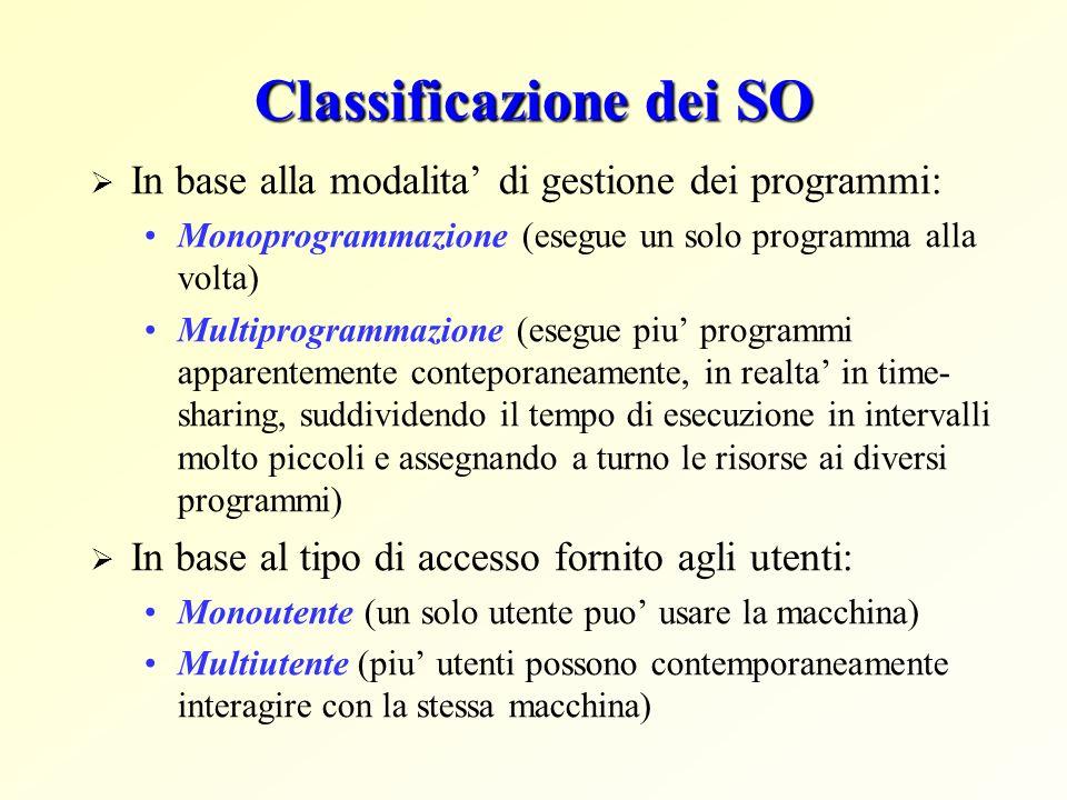 Classificazione dei SO In base alla modalita di gestione dei programmi: Monoprogrammazione (esegue un solo programma alla volta) Multiprogrammazione (