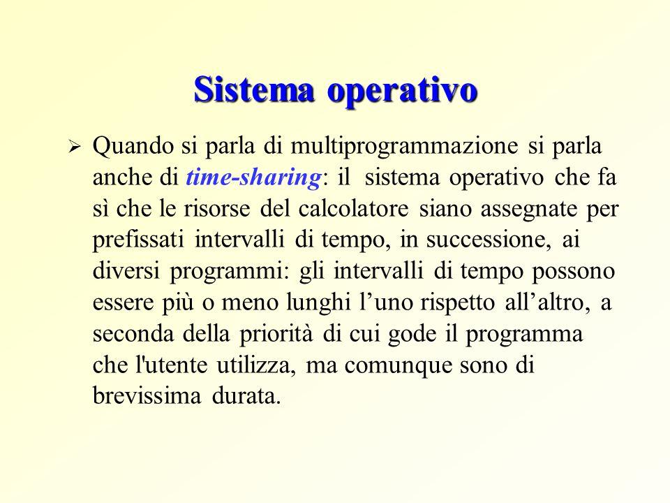 Sistema operativo Quando si parla di multiprogrammazione si parla anche di time sharing: il sistema operativo che fa sì che le risorse del calcolatore