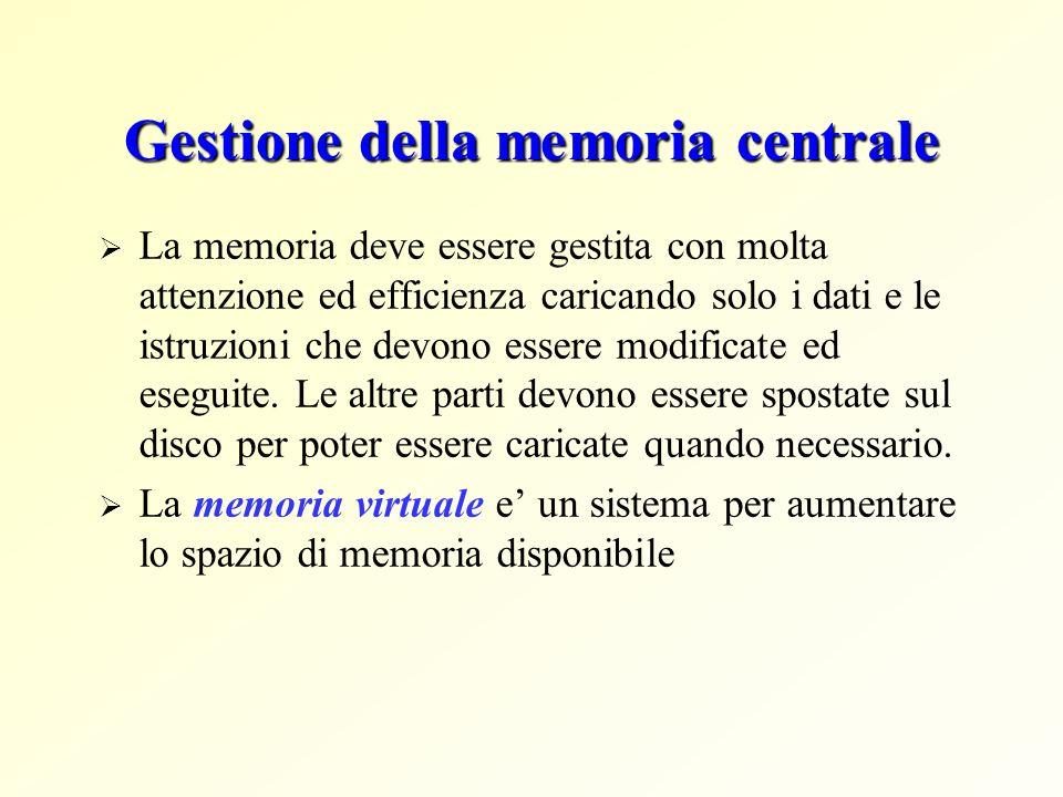Gestione della memoria centrale La memoria deve essere gestita con molta attenzione ed efficienza caricando solo i dati e le istruzioni che devono ess