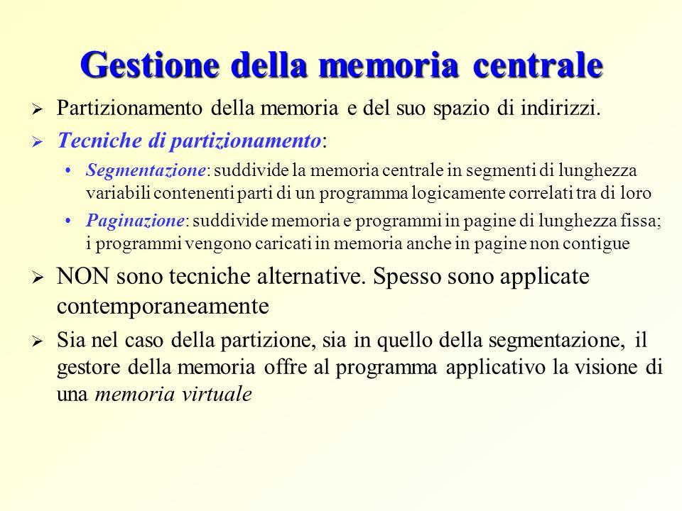 Gestione della memoria centrale Partizionamento della memoria e del suo spazio di indirizzi. Tecniche di partizionamento: Segmentazione: suddivide la