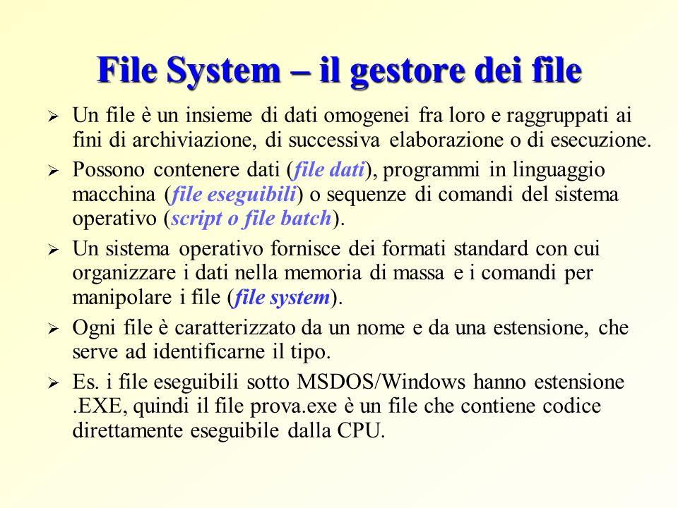 File System – il gestore dei file Un file è un insieme di dati omogenei fra loro e raggruppati ai fini di archiviazione, di successiva elaborazione o