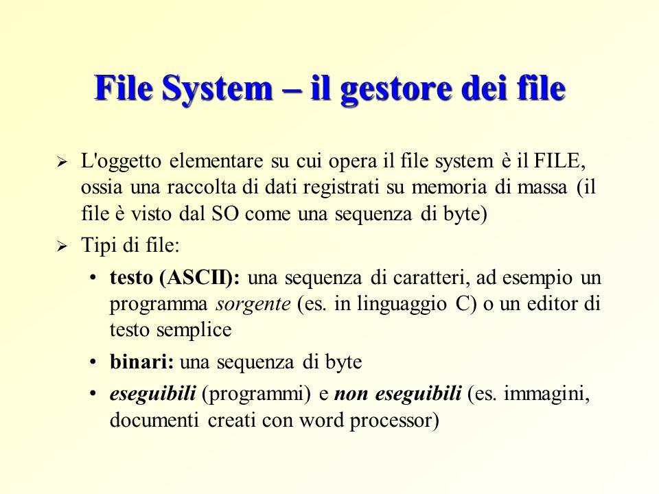 File System – il gestore dei file L'oggetto elementare su cui opera il file system è il FILE, ossia una raccolta di dati registrati su memoria di mass