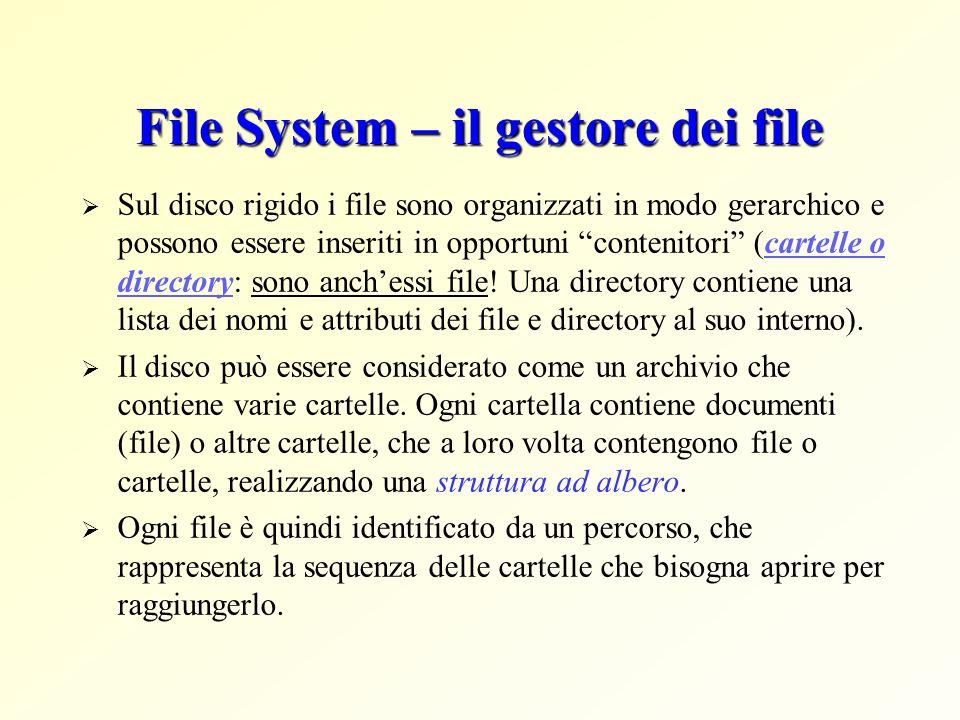 File System – il gestore dei file Sul disco rigido i file sono organizzati in modo gerarchico e possono essere inseriti in opportuni contenitori (cart