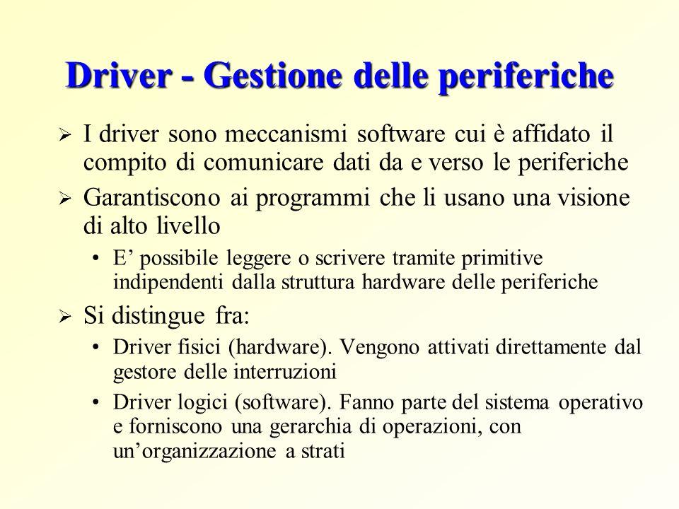 Driver - Gestione delle periferiche I driver sono meccanismi software cui è affidato il compito di comunicare dati da e verso le periferiche Garantisc