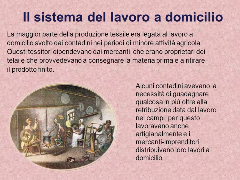 Il sistema del lavoro a domicilio La maggior parte della produzione tessile era legata al lavoro a domicilio svolto dai contadini nei periodi di minor