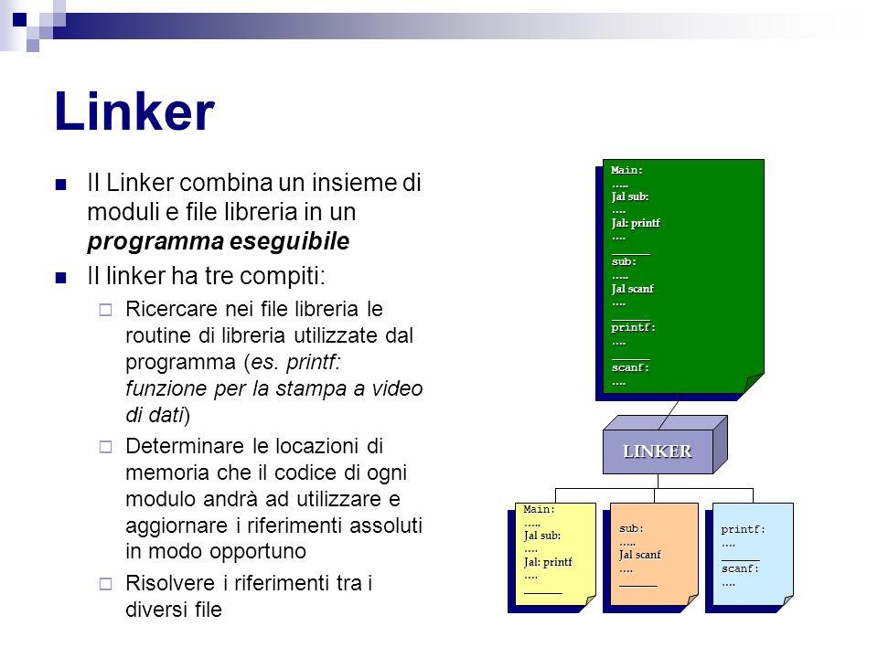 Linker Il Linker combina un insieme di moduli e file libreria in un programma eseguibile Il linker ha tre compiti: Ricercare nei file libreria le routine di libreria utilizzate dal programma (es.