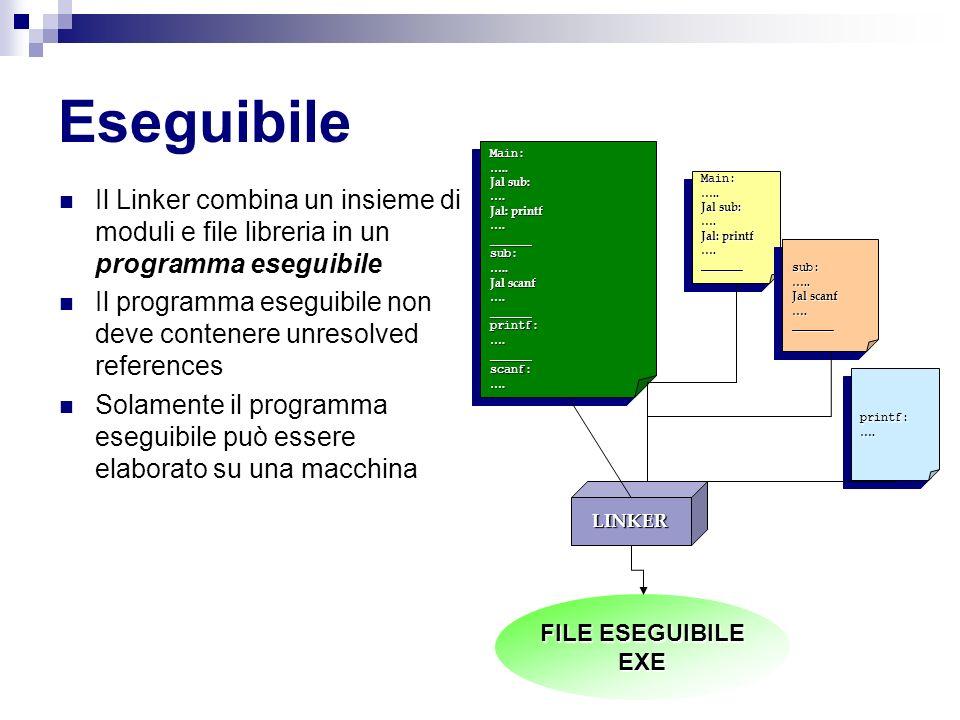 Eseguibile Disposizione in memoria La memoria viene suddivisa in segmenti Ogni segmento viene utilizzato per un particolare scopo Segmenti principali: Text: Contiene il codice dei programma Data: Contiene i dati globali dei programmi Stack Contiene i dati locali delle funzioni 0x80000000 KERNEL 0x7FFFF000 NOT USED STACK $SP HEAP 0x10000000 DATA TEXT 0x04000000 R DATA 0x00000000 RESERVED