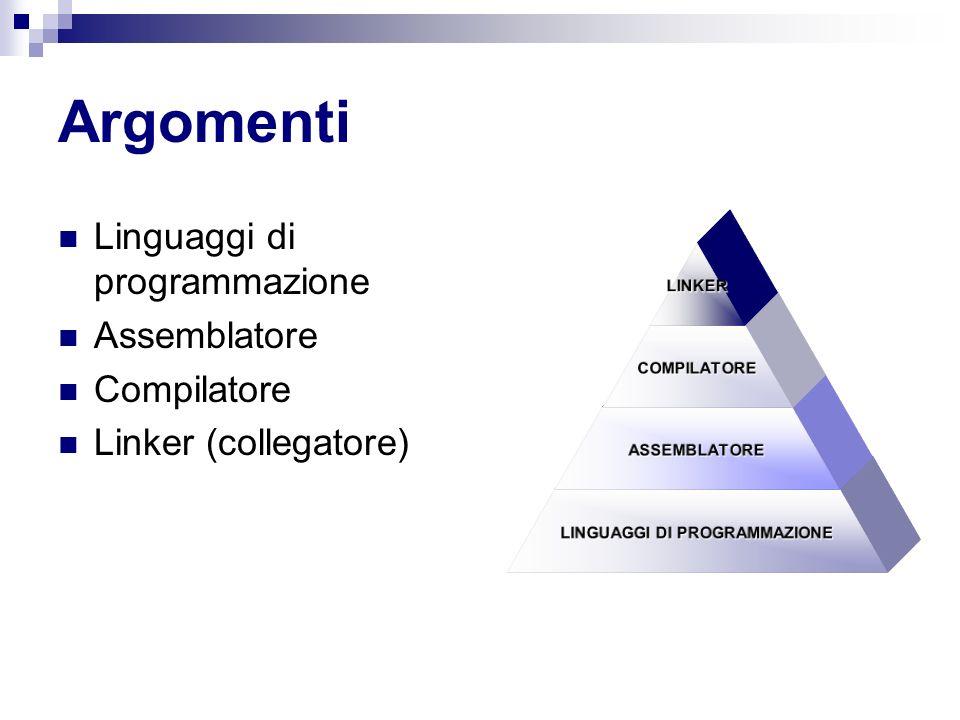 Argomenti Linguaggi di programmazione Assemblatore Compilatore Linker (collegatore)LINKERCOMPILATORE ASSEMBLATORE LINGUAGGI DI PROGRAMMAZIONE