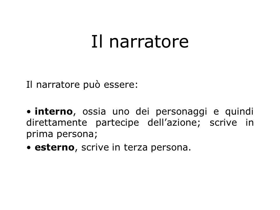 Il narratore Il narratore può essere: interno, ossia uno dei personaggi e quindi direttamente partecipe dellazione; scrive in prima persona; esterno,