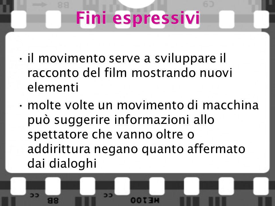 Fini espressivi il movimento serve a sviluppare il racconto del film mostrando nuovi elementi molte volte un movimento di macchina può suggerire infor