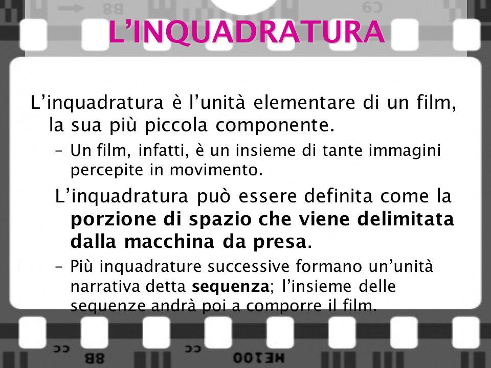 LINQUADRATURA Linquadratura è lunità elementare di un film, la sua più piccola componente. –Un film, infatti, è un insieme di tante immagini percepite