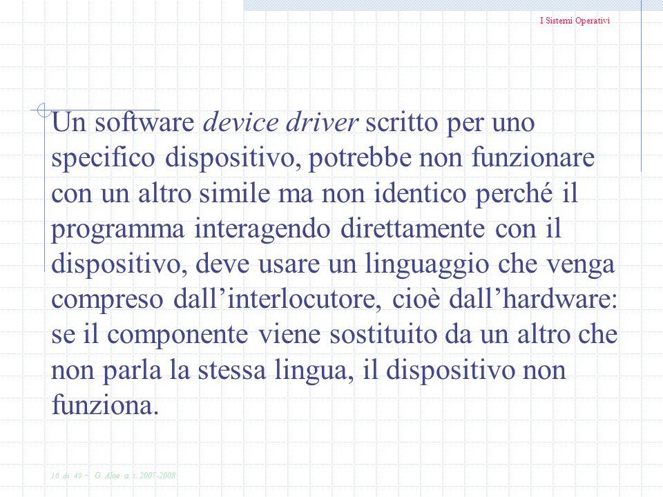 I Sistemi Operativi 10 di 49 - G. Aloe a. s. 2007-2008 Un software device driver scritto per uno specifico dispositivo, potrebbe non funzionare con un