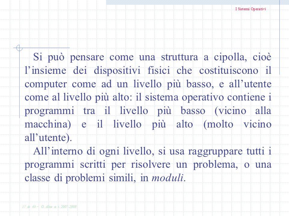 I Sistemi Operativi 17 di 49 - G. Aloe a. s. 2007-2008 Si può pensare come una struttura a cipolla, cioè linsieme dei dispositivi fisici che costituis