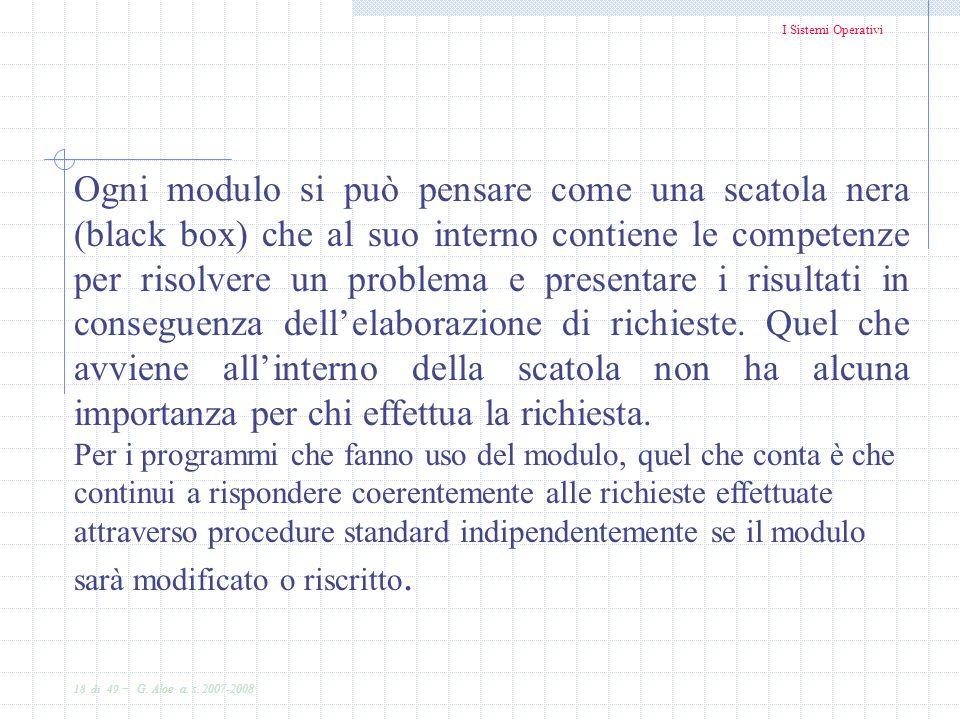 I Sistemi Operativi 18 di 49 - G. Aloe a. s. 2007-2008 Ogni modulo si può pensare come una scatola nera (black box) che al suo interno contiene le com