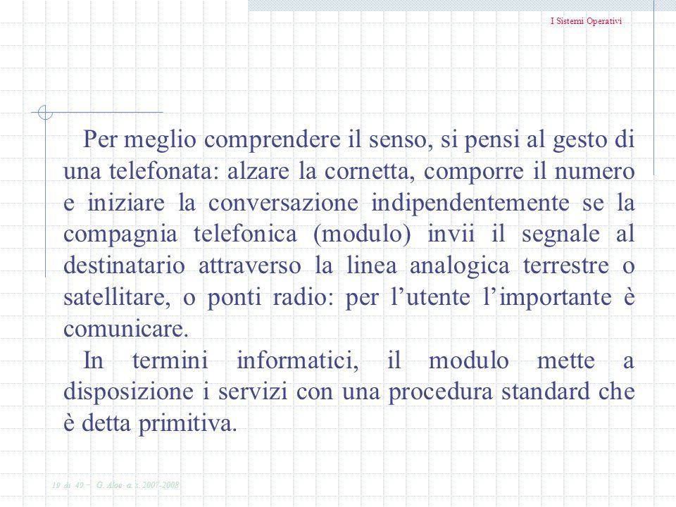 I Sistemi Operativi 19 di 49 - G. Aloe a. s. 2007-2008 Per meglio comprendere il senso, si pensi al gesto di una telefonata: alzare la cornetta, compo