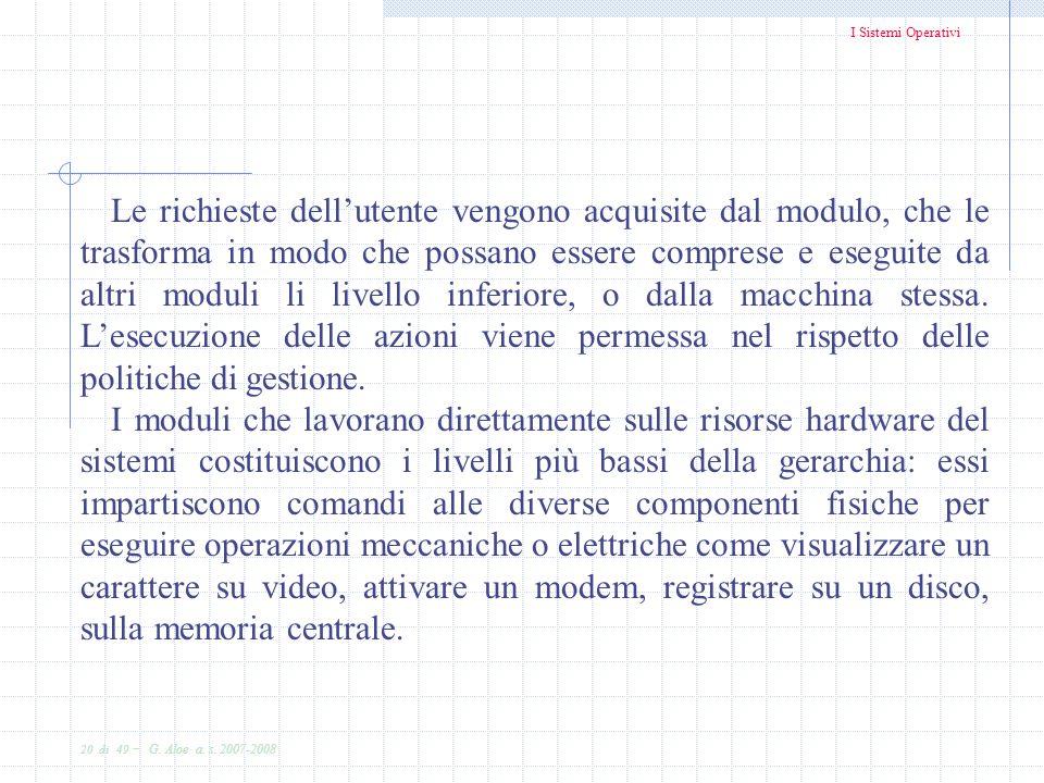 I Sistemi Operativi 20 di 49 - G. Aloe a. s. 2007-2008 Le richieste dellutente vengono acquisite dal modulo, che le trasforma in modo che possano esse