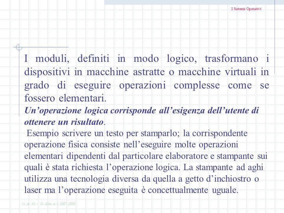 I Sistemi Operativi 21 di 49 - G. Aloe a. s. 2007-2008 I moduli, definiti in modo logico, trasformano i dispositivi in macchine astratte o macchine vi