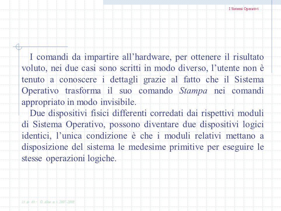 I Sistemi Operativi 23 di 49 - G. Aloe a. s. 2007-2008 I comandi da impartire allhardware, per ottenere il risultato voluto, nei due casi sono scritti