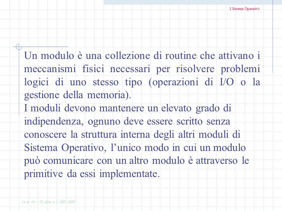 I Sistemi Operativi 24 di 49 - G. Aloe a. s. 2007-2008 Un modulo è una collezione di routine che attivano i meccanismi fisici necessari per risolvere
