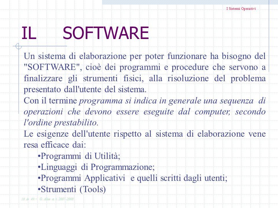 I Sistemi Operativi 28 di 49 - G. Aloe a. s. 2007-2008 IL SOFTWARE Un sistema di elaborazione per poter funzionare ha bisogno del