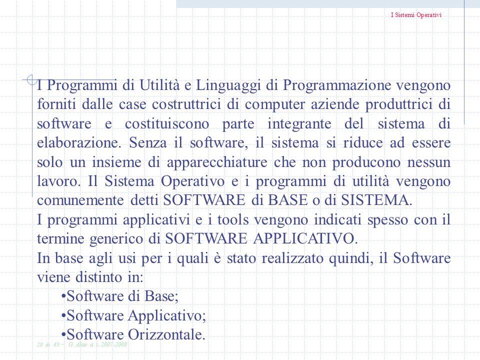I Sistemi Operativi 29 di 49 - G. Aloe a. s. 2007-2008 I Programmi di Utilità e Linguaggi di Programmazione vengono forniti dalle case costruttrici di