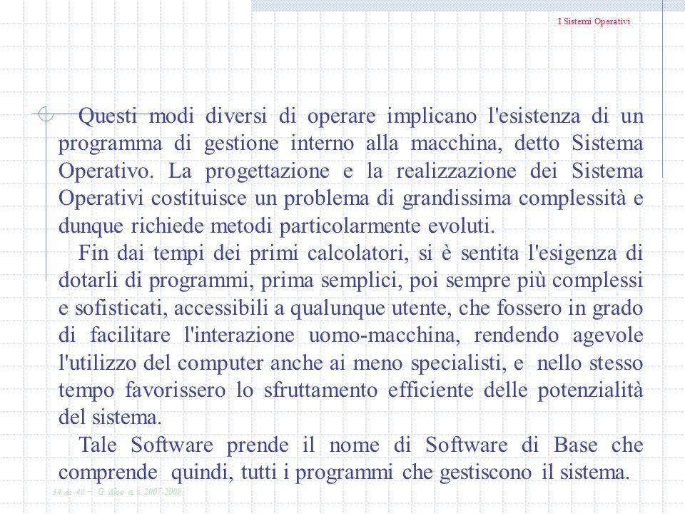 I Sistemi Operativi 34 di 49 - G. Aloe a. s. 2007-2008 Questi modi diversi di operare implicano l'esistenza di un programma di gestione interno alla m