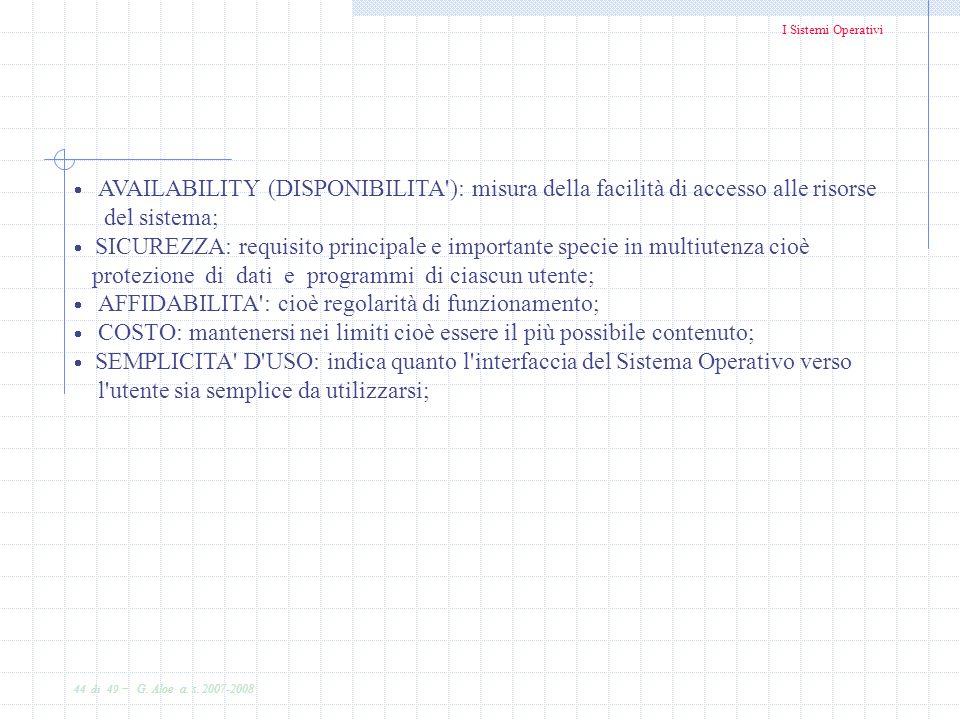 I Sistemi Operativi 44 di 49 - G. Aloe a. s. 2007-2008 AVAILABILITY (DISPONIBILITA'): misura della facilità di accesso alle risorse del sistema; SICUR
