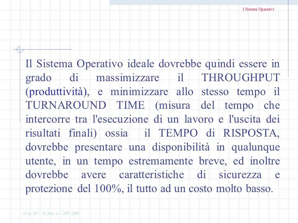I Sistemi Operativi 45 di 49 - G. Aloe a. s. 2007-2008 Il Sistema Operativo ideale dovrebbe quindi essere in grado di massimizzare il THROUGHPUT (prod
