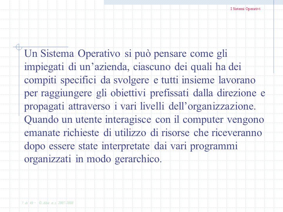 I Sistemi Operativi 7 di 49 - G. Aloe a. s. 2007-2008 Un Sistema Operativo si può pensare come gli impiegati di unazienda, ciascuno dei quali ha dei c