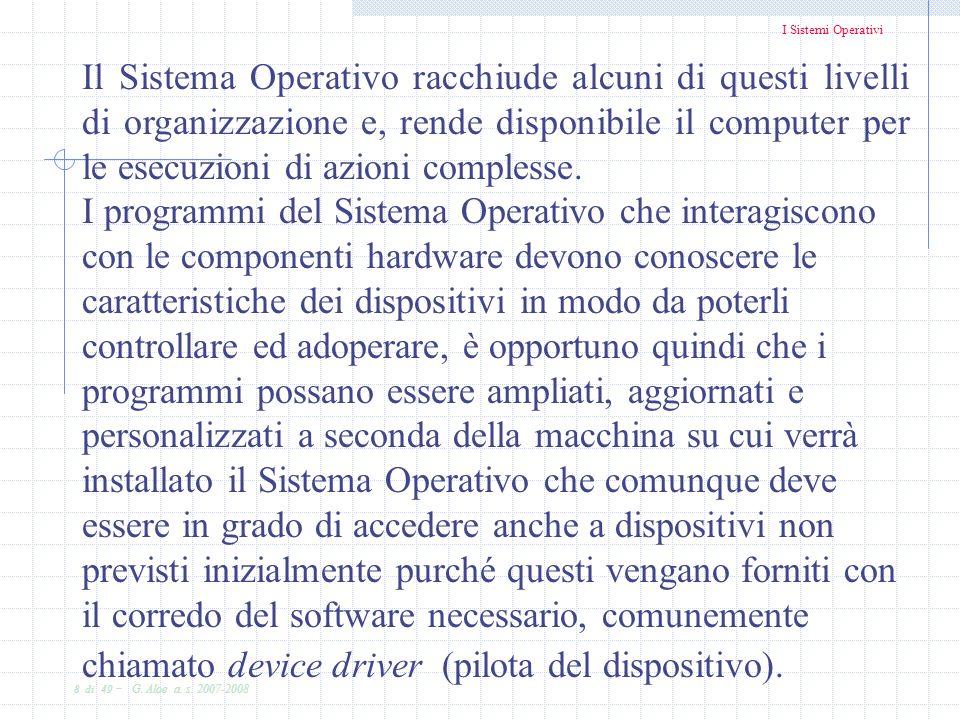 I Sistemi Operativi 8 di 49 - G. Aloe a. s. 2007-2008 Il Sistema Operativo racchiude alcuni di questi livelli di organizzazione e, rende disponibile i