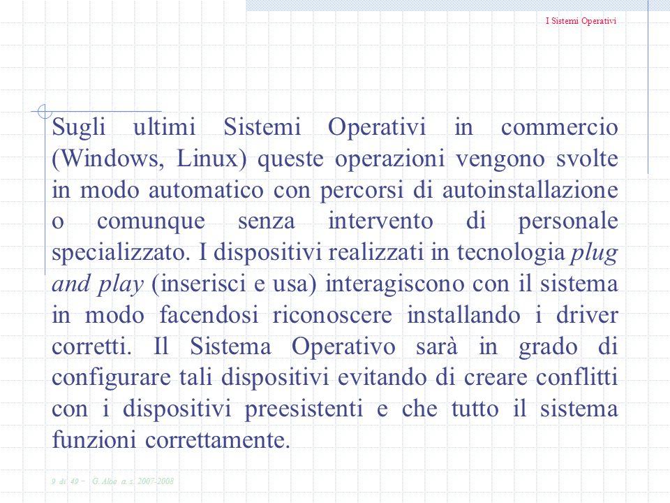 I Sistemi Operativi 9 di 49 - G. Aloe a. s. 2007-2008 Sugli ultimi Sistemi Operativi in commercio (Windows, Linux) queste operazioni vengono svolte in