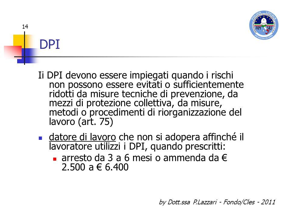 by Dott.ssa P.Lazzari - Fondo/Cles - 2011 14 DPI Ii DPI devono essere impiegati quando i rischi non possono essere evitati o sufficientemente ridotti