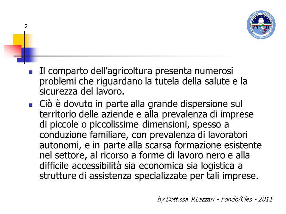 by Dott.ssa P.Lazzari - Fondo/Cles - 2011 2 Il comparto dellagricoltura presenta numerosi problemi che riguardano la tutela della salute e la sicurezz