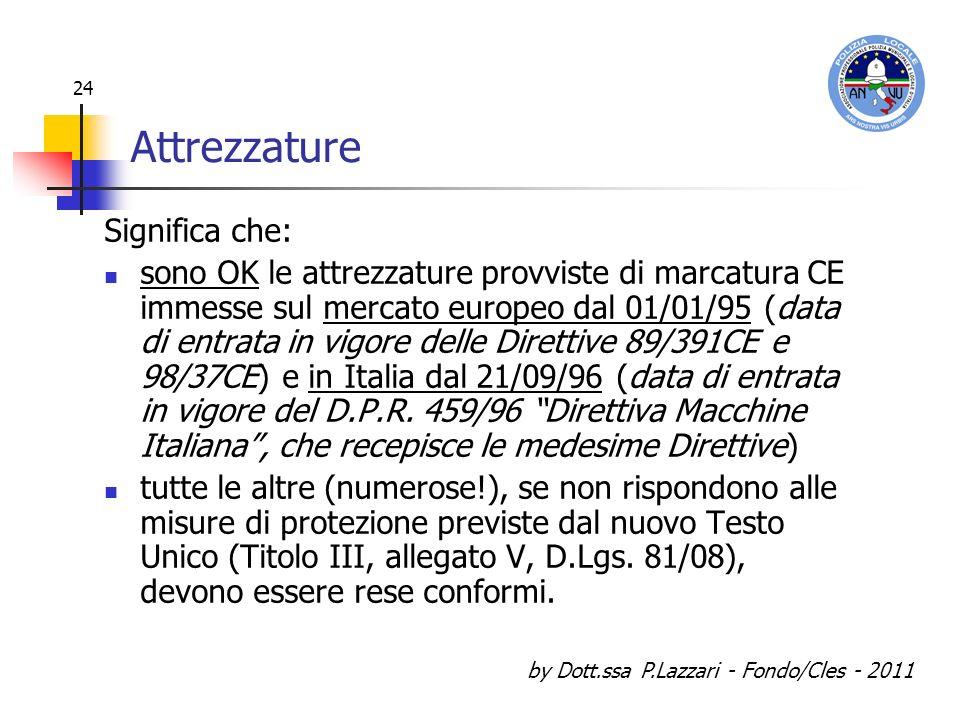 by Dott.ssa P.Lazzari - Fondo/Cles - 2011 24 Attrezzature Significa che: sono OK le attrezzature provviste di marcatura CE immesse sul mercato europeo