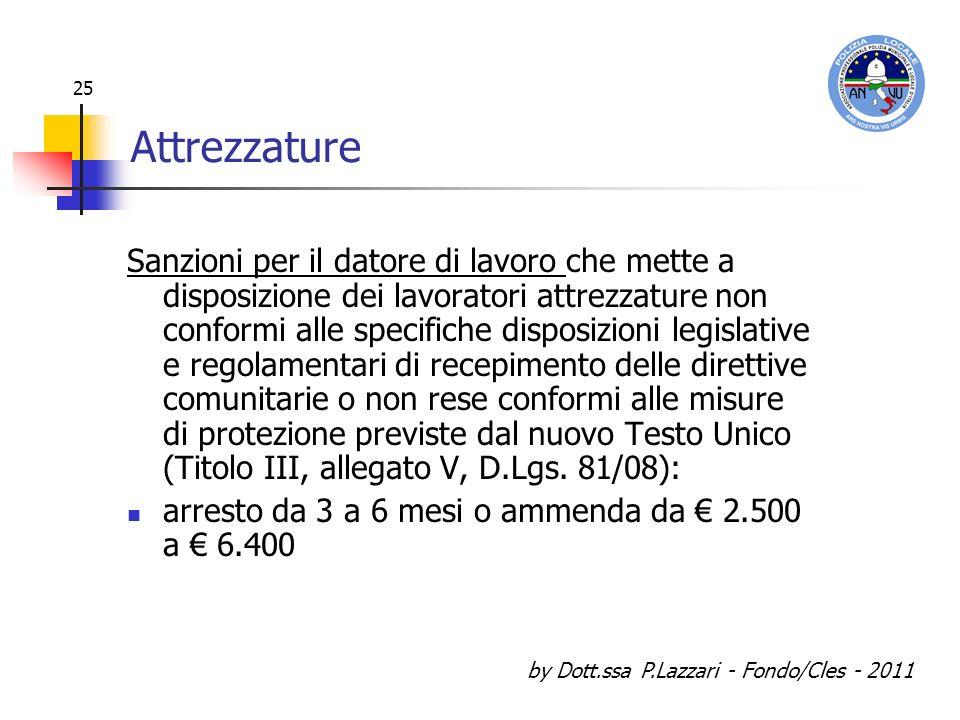by Dott.ssa P.Lazzari - Fondo/Cles - 2011 25 Attrezzature Sanzioni per il datore di lavoro che mette a disposizione dei lavoratori attrezzature non co