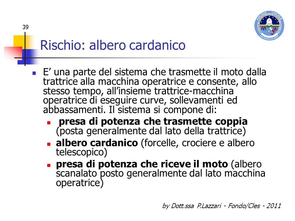 by Dott.ssa P.Lazzari - Fondo/Cles - 2011 39 Rischio: albero cardanico E una parte del sistema che trasmette il moto dalla trattrice alla macchina ope
