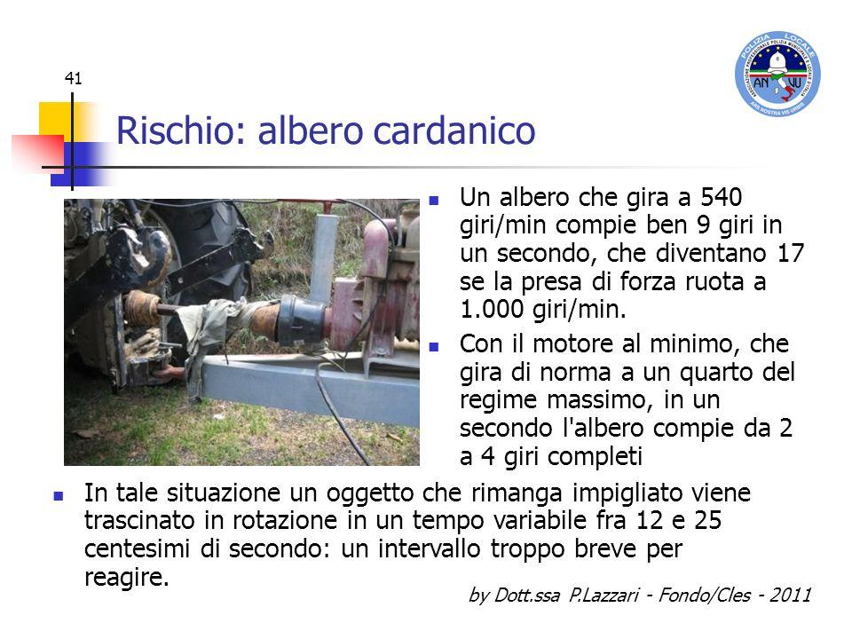 by Dott.ssa P.Lazzari - Fondo/Cles - 2011 41 Rischio: albero cardanico Un albero che gira a 540 giri/min compie ben 9 giri in un secondo, che diventan