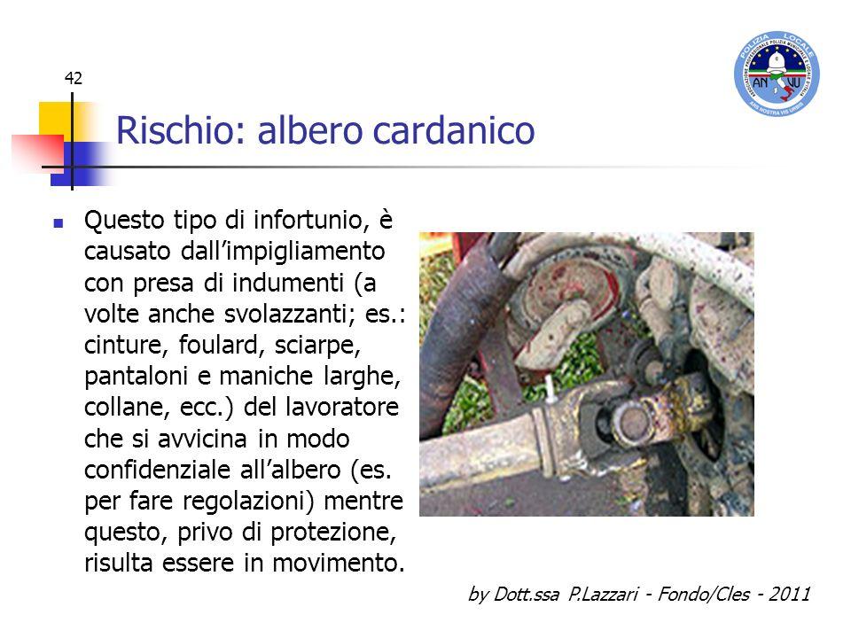 by Dott.ssa P.Lazzari - Fondo/Cles - 2011 42 Rischio: albero cardanico Questo tipo di infortunio, è causato dallimpigliamento con presa di indumenti (