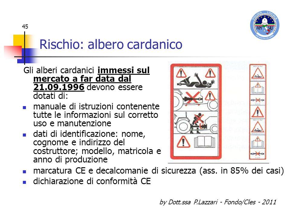 by Dott.ssa P.Lazzari - Fondo/Cles - 2011 45 Rischio: albero cardanico Gli alberi cardanici immessi sul mercato a far data dal 21.09.1996 devono esser