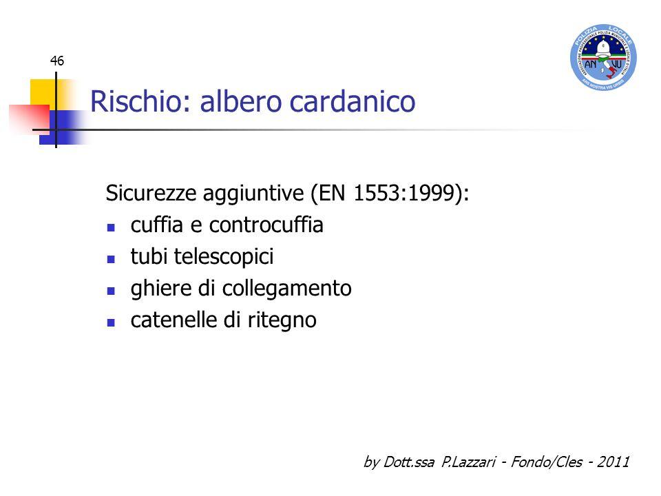 by Dott.ssa P.Lazzari - Fondo/Cles - 2011 46 Rischio: albero cardanico Sicurezze aggiuntive (EN 1553:1999): cuffia e controcuffia tubi telescopici ghi
