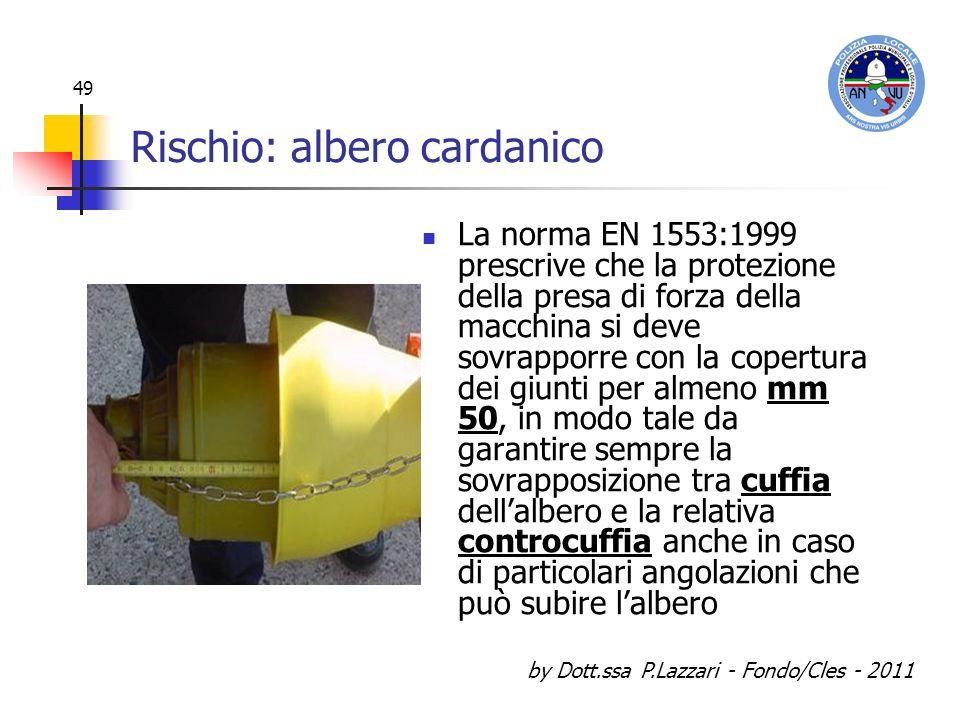 by Dott.ssa P.Lazzari - Fondo/Cles - 2011 49 Rischio: albero cardanico La norma EN 1553:1999 prescrive che la protezione della presa di forza della ma