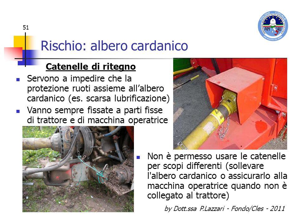 by Dott.ssa P.Lazzari - Fondo/Cles - 2011 51 Rischio: albero cardanico Non è permesso usare le catenelle per scopi differenti (sollevare l'albero card