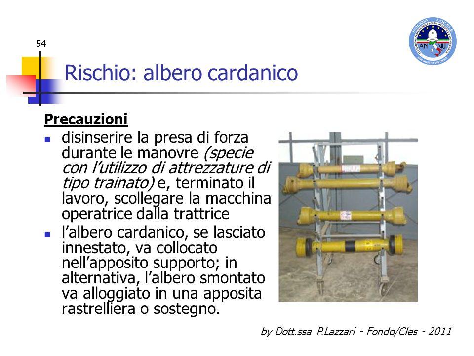 by Dott.ssa P.Lazzari - Fondo/Cles - 2011 54 Rischio: albero cardanico Precauzioni disinserire la presa di forza durante le manovre (specie con lutili