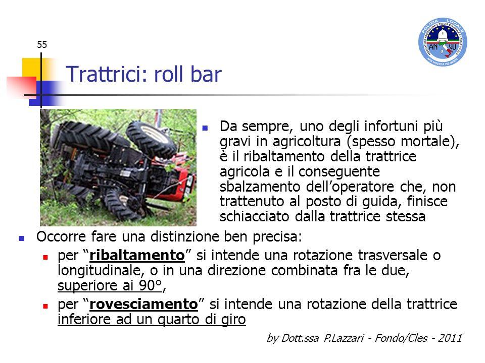by Dott.ssa P.Lazzari - Fondo/Cles - 2011 55 Trattrici: roll bar Da sempre, uno degli infortuni più gravi in agricoltura (spesso mortale), è il ribalt