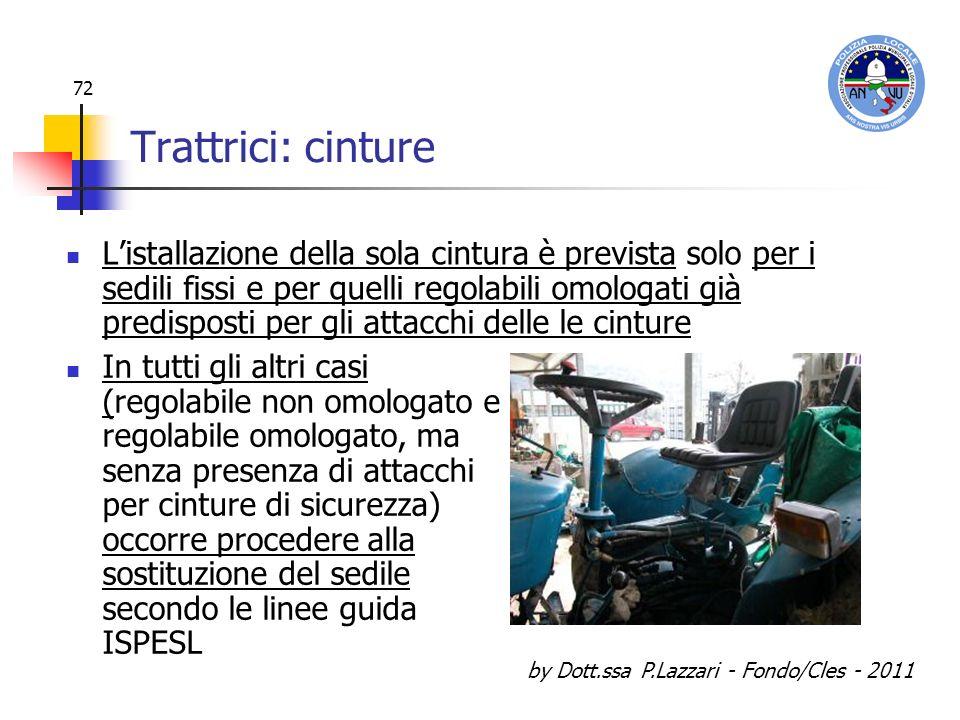 by Dott.ssa P.Lazzari - Fondo/Cles - 2011 72 Trattrici: cinture Listallazione della sola cintura è prevista solo per i sedili fissi e per quelli regol