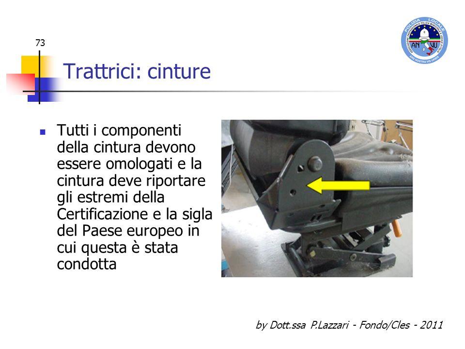 by Dott.ssa P.Lazzari - Fondo/Cles - 2011 73 Trattrici: cinture Tutti i componenti della cintura devono essere omologati e la cintura deve riportare g