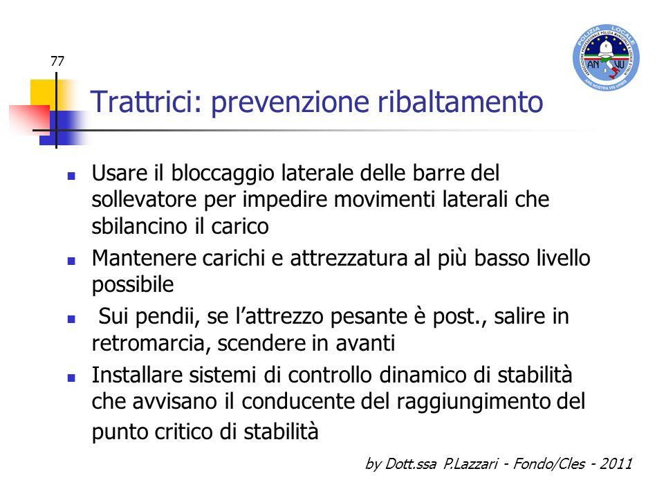 by Dott.ssa P.Lazzari - Fondo/Cles - 2011 77 Trattrici: prevenzione ribaltamento Usare il bloccaggio laterale delle barre del sollevatore per impedire